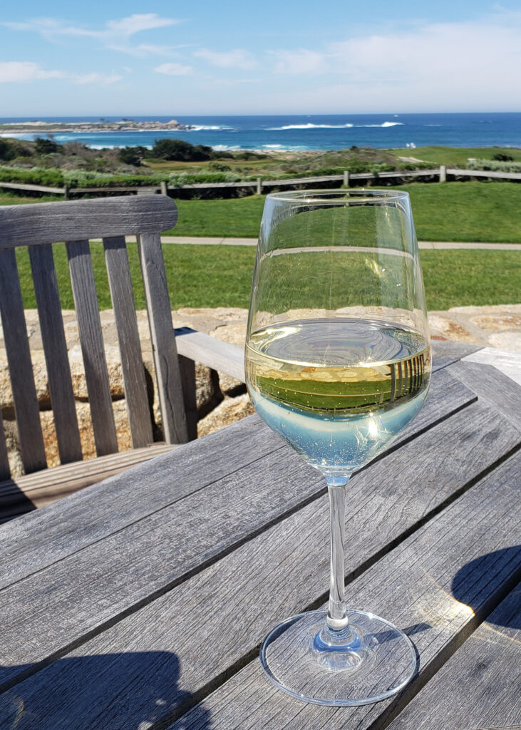 Wine on the beach at Roy's in Spanish Bay inn