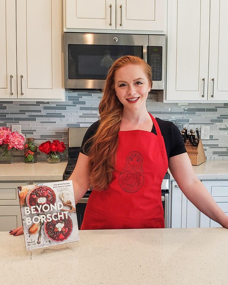 red nesting doll apron for Beyond Borscht