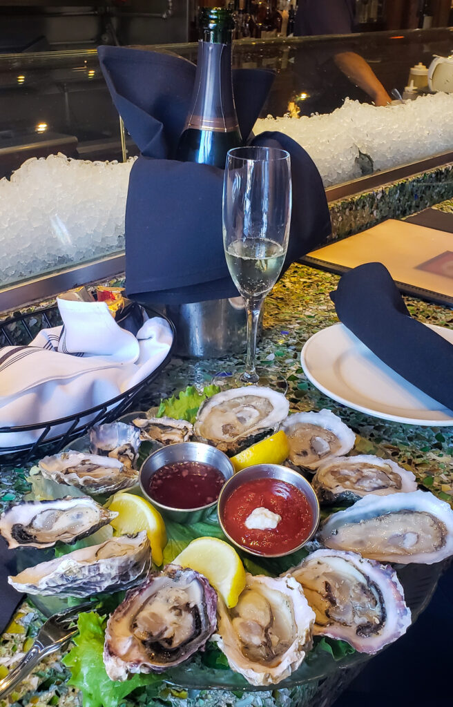oysters and champagne at AW Shucks