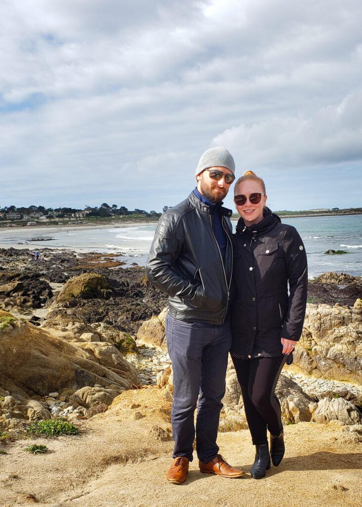 Tatyana and Anatoliy by the ocean in Carmel, CA