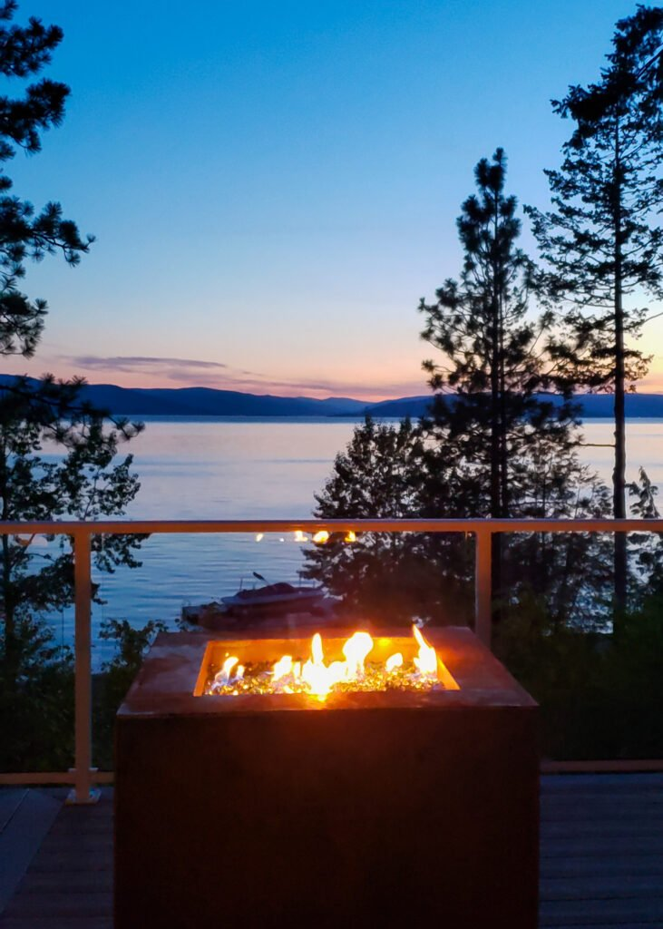 firepit with a lakeview sunset