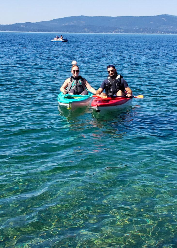 kayaking on Flathead Lake in the summer