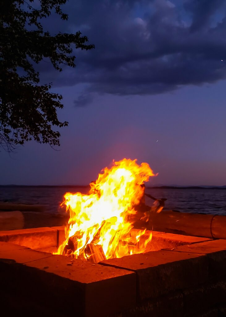 campfire by the lake shores