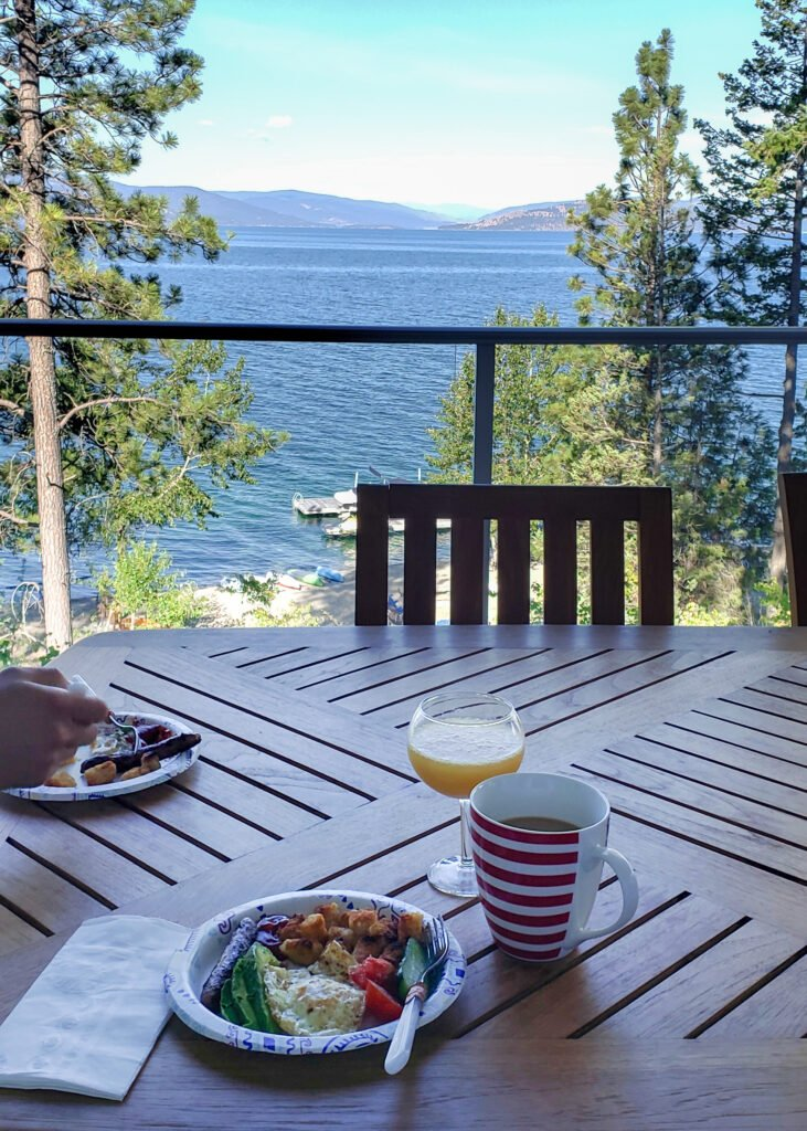breakfast tray with a view of Flathead Lake