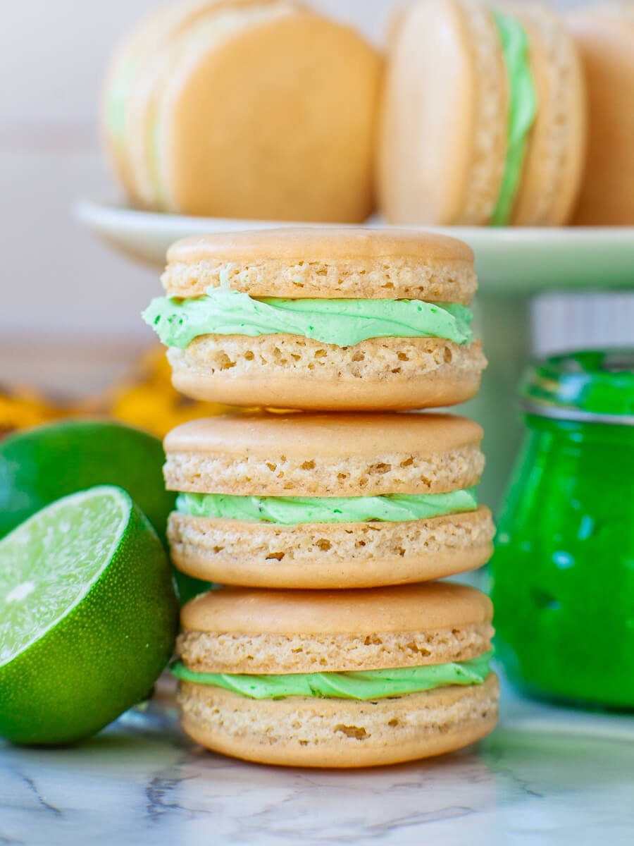coconut key lime macarons with lime curd filling