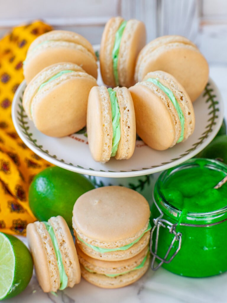 coconut macarons with lime buttercream and lime curd filling