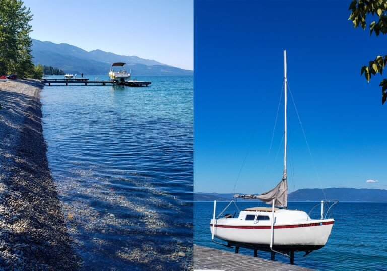 boats on the water at Flathead Lake, MT