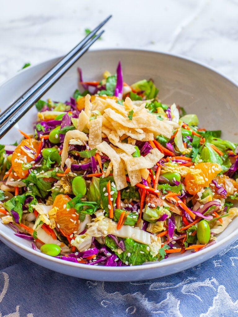 Asian salad recipe with edamame, mandarins, wonton crisps and sesame dressing
