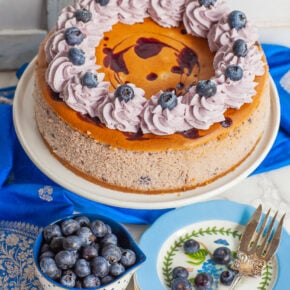blueberry swirl cheesecake with whipped cream