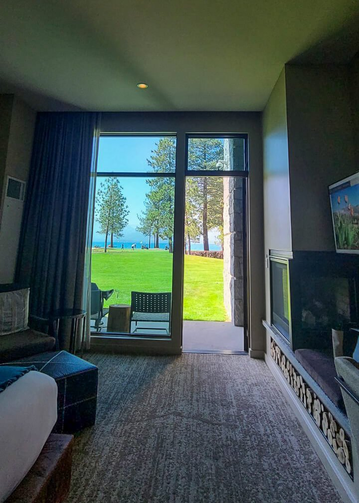 views of the golf course and Lake Tahoe from guest room at Edgewood Tahoe