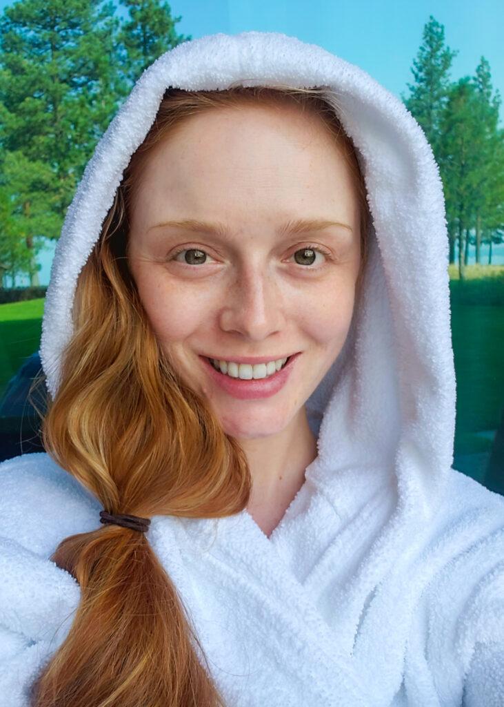 Tatyana at Edgewood Tahoe in white bathrob