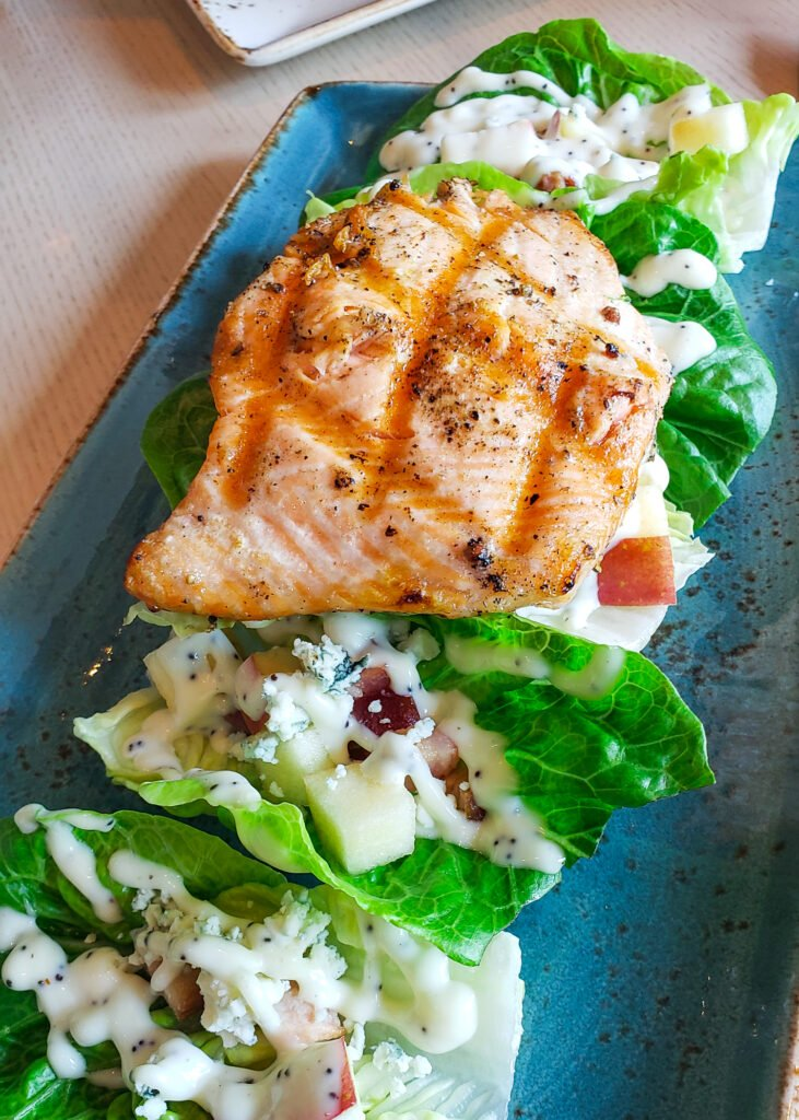 grilled salmon salad with butter lettuce, apples and blue cheese