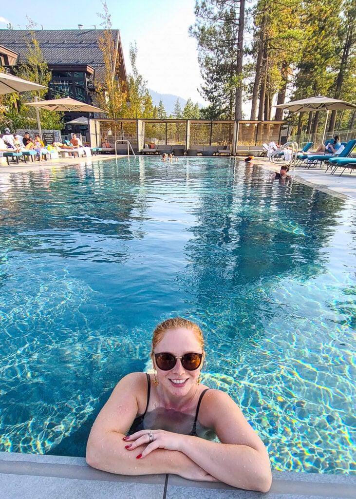 Tatyana at the outdoor pool at Edgewood Tahoe Resort