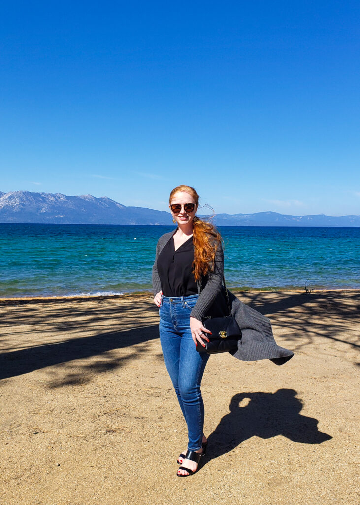 Tatyana on the beach at Lake Tahoe - beach views at Egdewood Resort