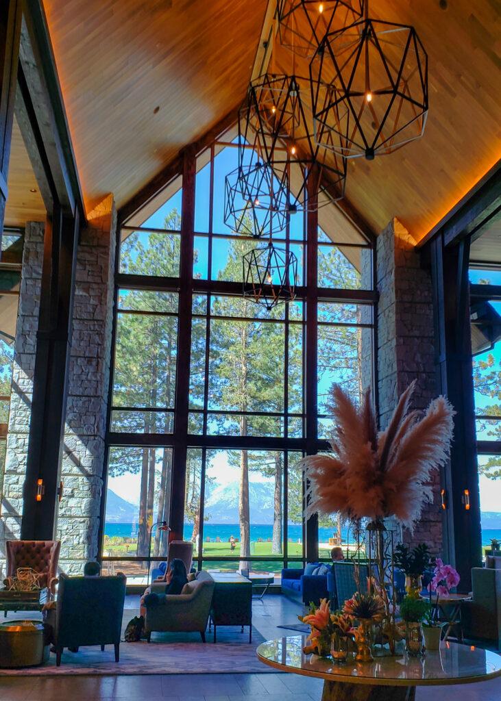 main lobby with lake and mountain views at Edgewood Tahoe Resort
