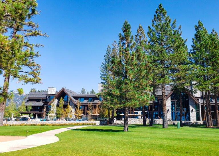 outside view of Edgewood Tahoe Resort with pool and main lobby