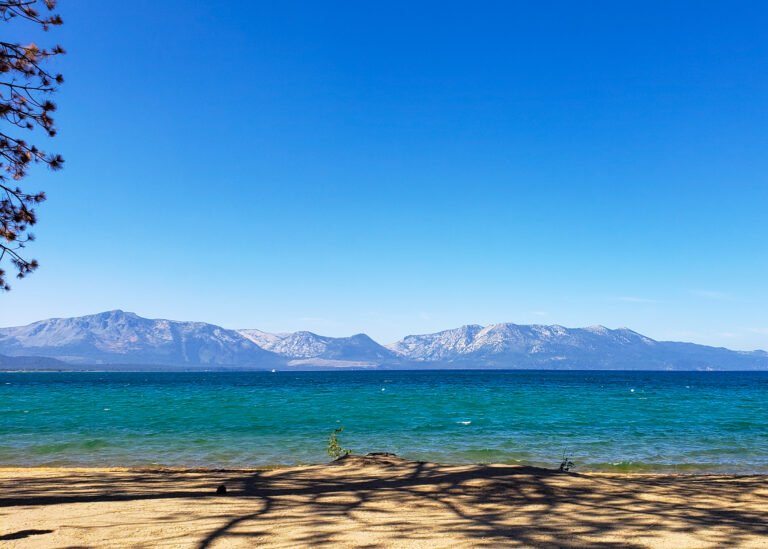 the beach with lake and mountain views from Edgewood Tahoe Resort