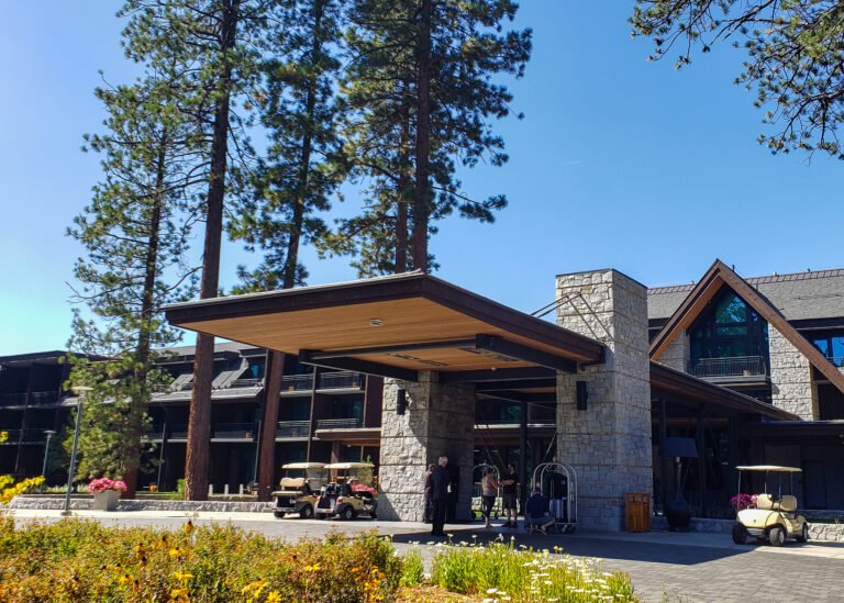 main entrance and arrivals area at Edgewood Tahoe