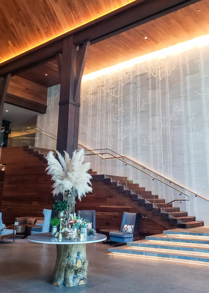 main lobby and stairs to second floor at Edgewood Tahoe Resort