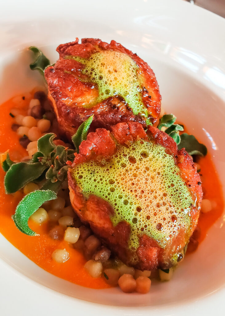 pan-seared scallops with couscous and seafoam at The Restaurant at Edgewood Tahoe