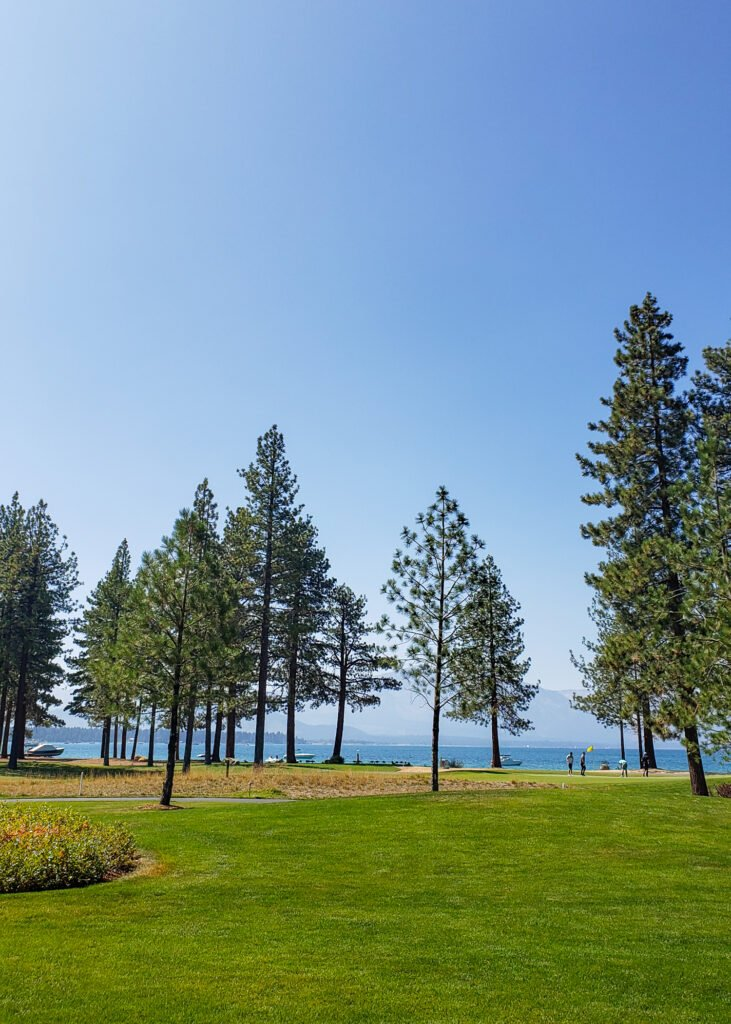 view of Lake Tahoe and golf course from guest room at Edgewood Tahoe Resort