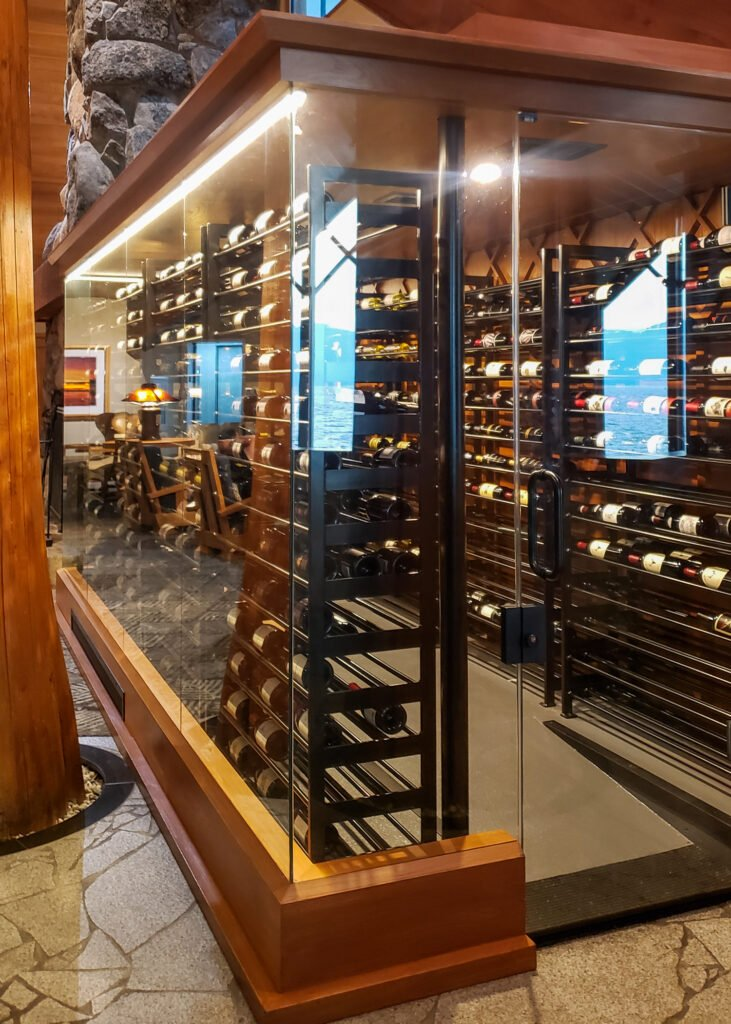 glass enclosed wine cellar at The Restaurant at Edgewood Tahoe