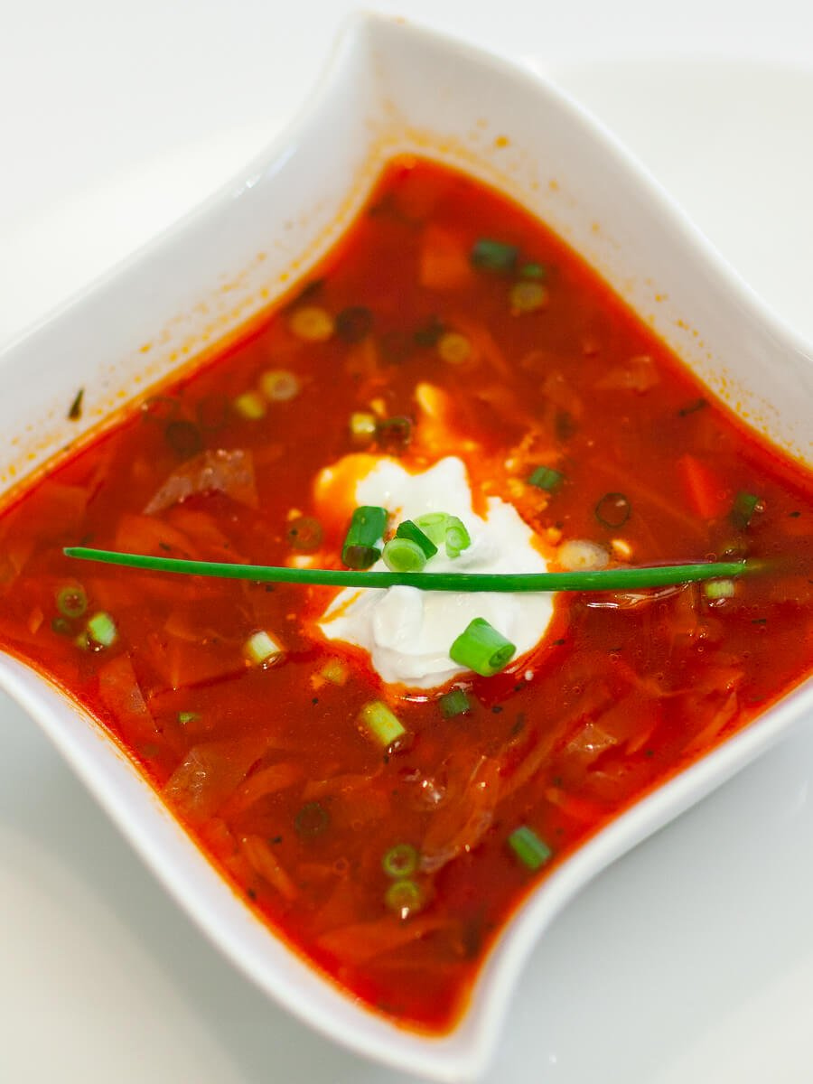ukrainian beef borscht with sour cream and chives
