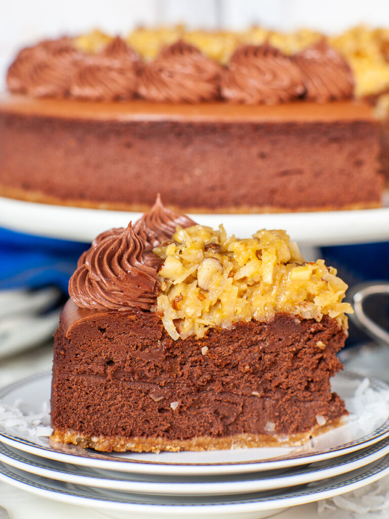 closeup of chocolate coconut cheesecake slice with coconut pecan topping