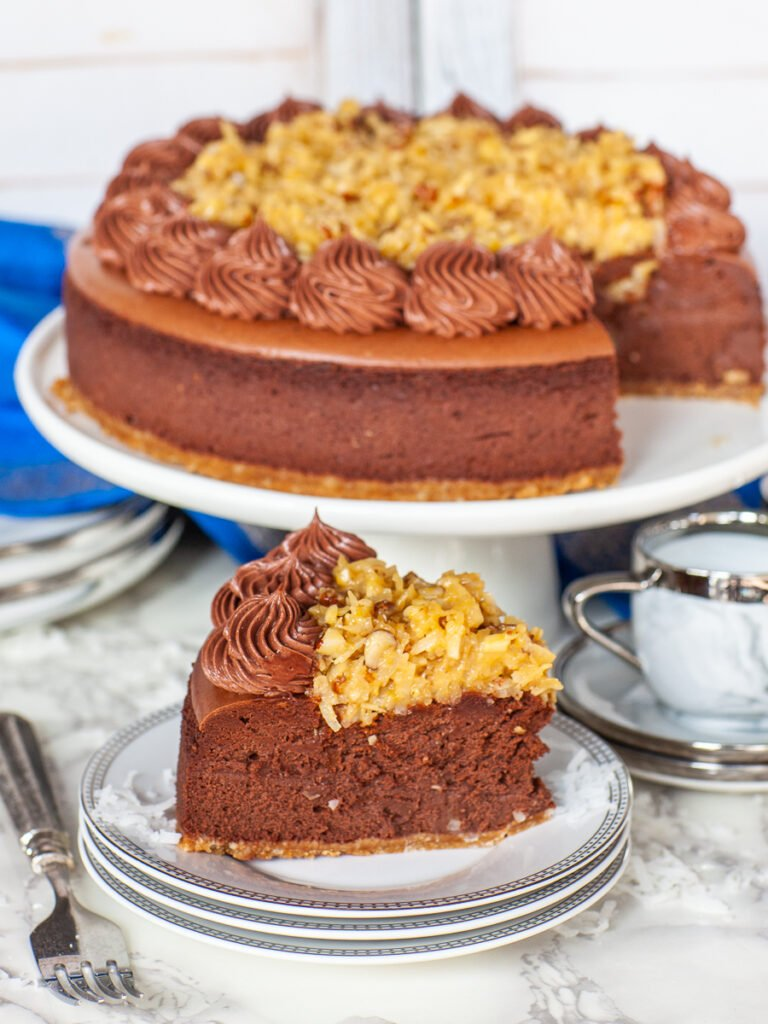 slice of German Chocolate Cheesecake with coconut pecan topping