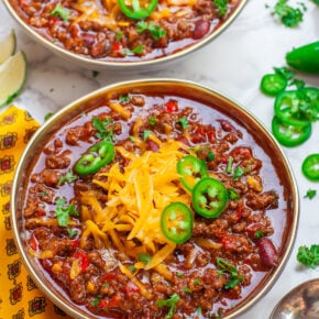 smoky chipotle beef chili with cheese and peppers