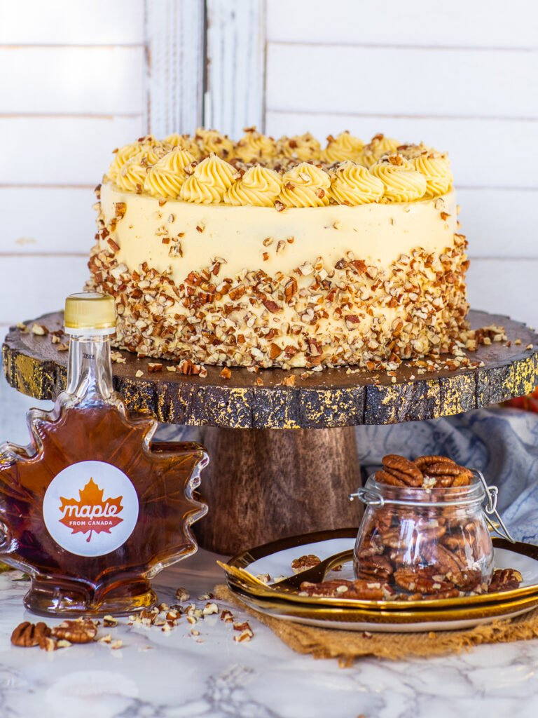maple cake made with maple syrup and diced pecans