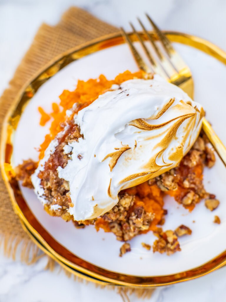 single serving of sweet potato casserole, Thanksgiving recipe