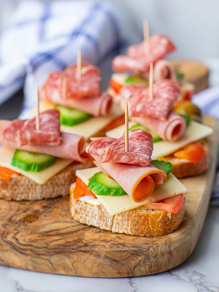 tea sandwich with ham, cheese and salami