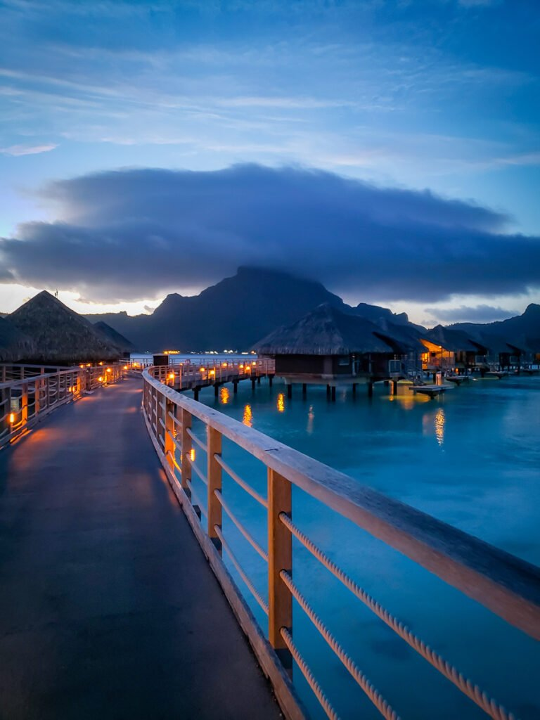 evening in Bora Bora among overwater bungalows