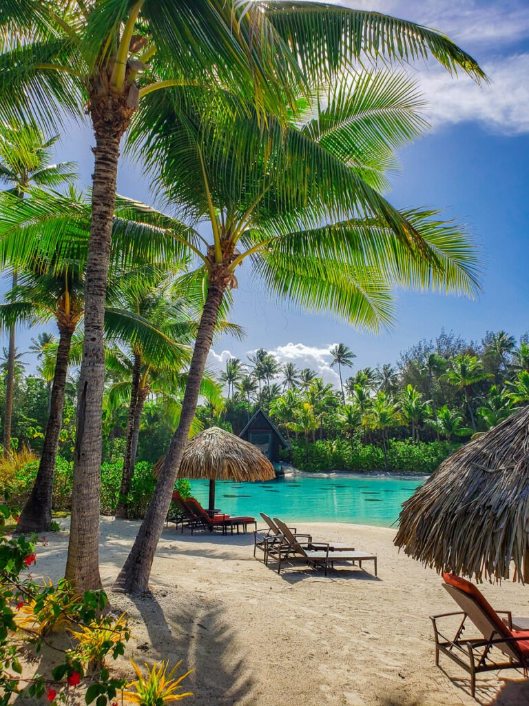 beach loungers by lagoon in Bora Bora