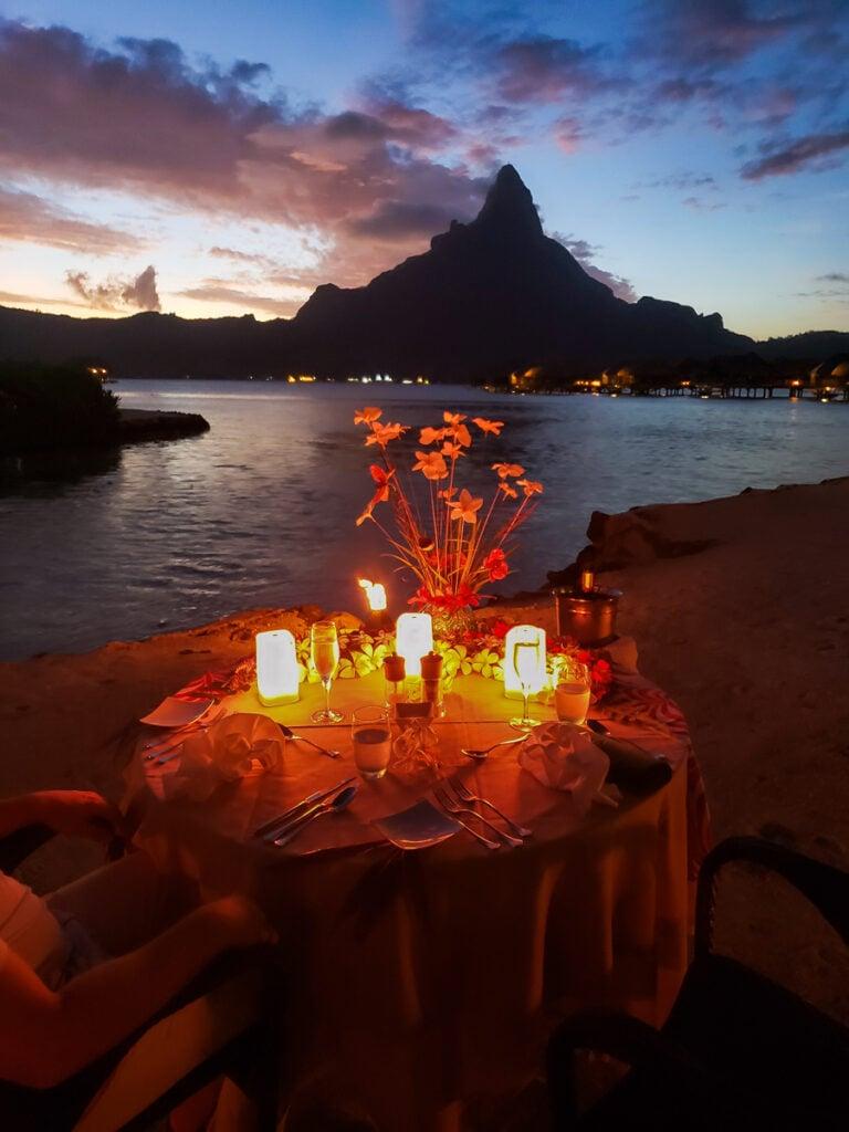 private beach dinner in Bora Bora