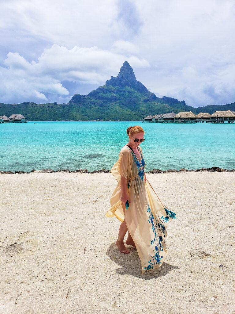 on the beach in Bora Bora