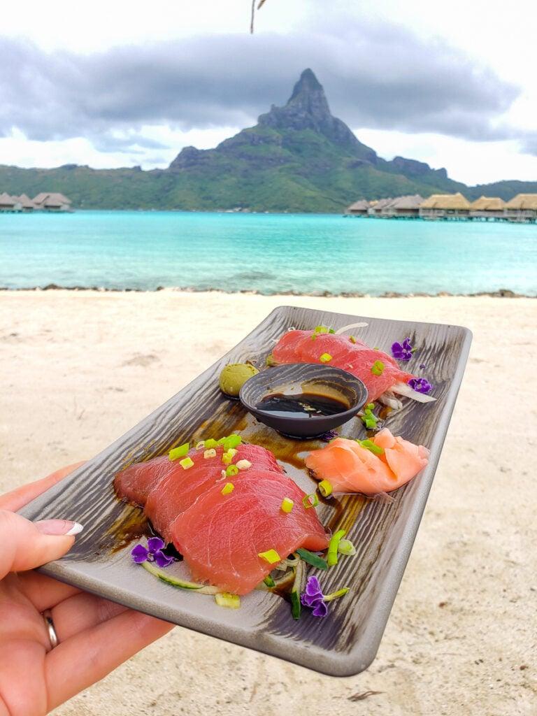 sashimi platter in Bora Bora
