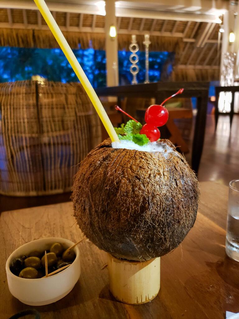 coconut drink in fresh coconut