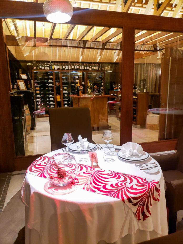 wine cellar at Corail in Bora Bora