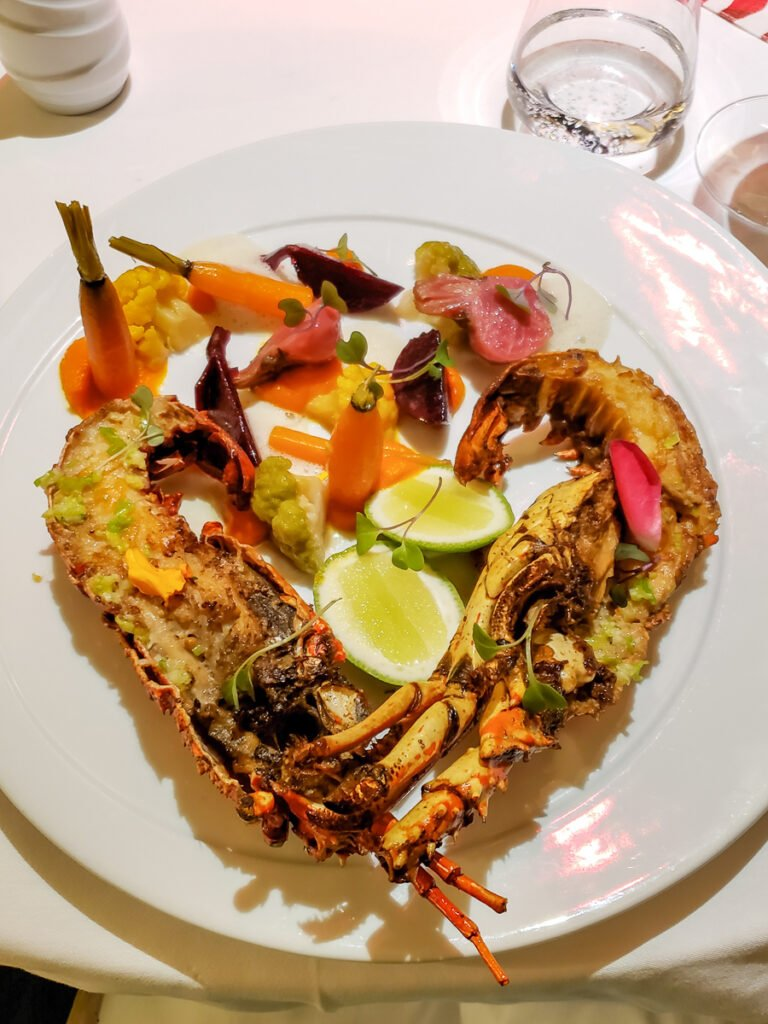 grilled lobster with steamed veggies