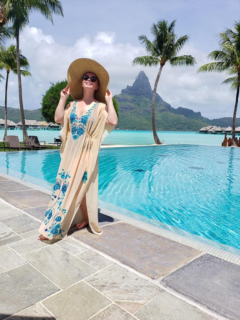 at the infinity pool in Bora Bora