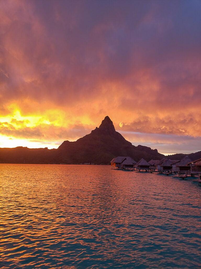 beautiful sunset in Bora Bora with Mt. Otemanu