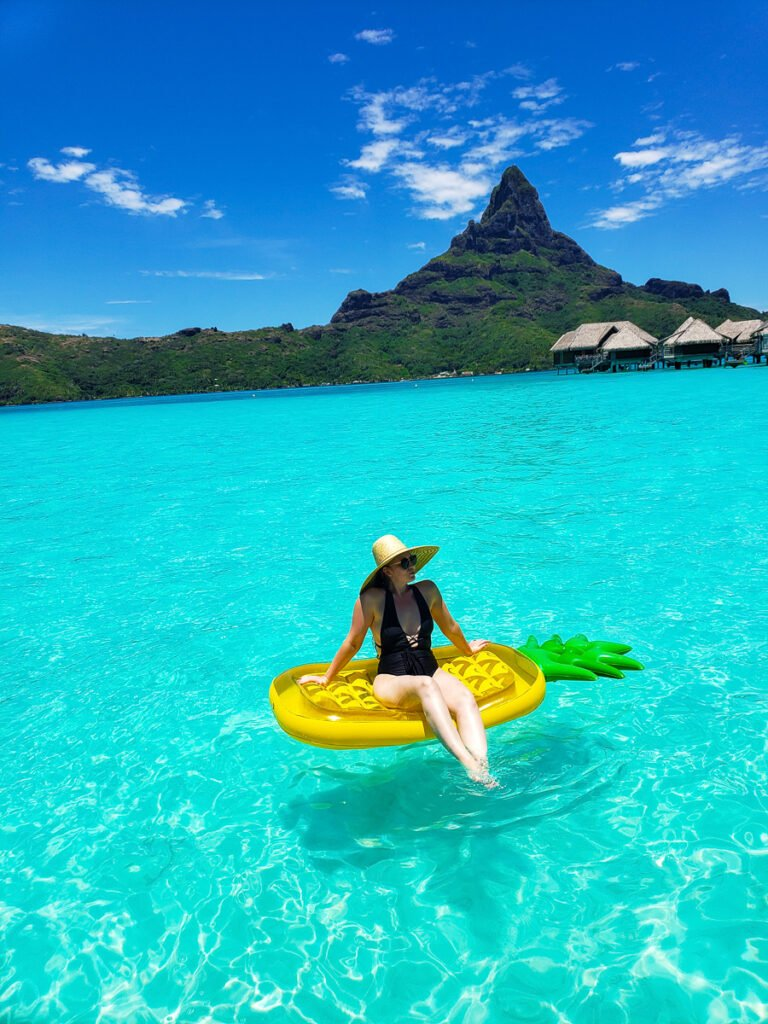 floating in the lagoon in Bora bora