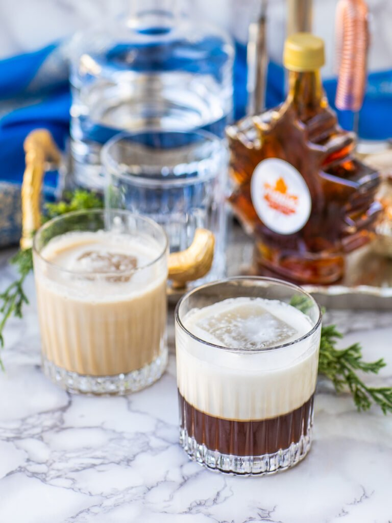 maple white russian cocktail in holiday setting