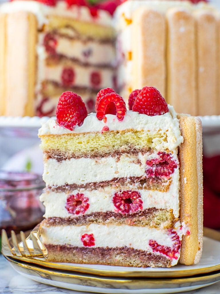 slice of raspberry cake with tiramisu filling and fresh raspberries
