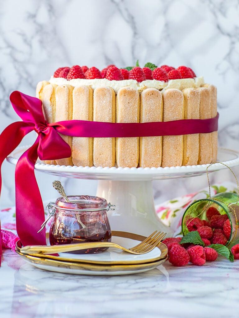 raspberry tiramisu cake with ladyfingers and ribbon