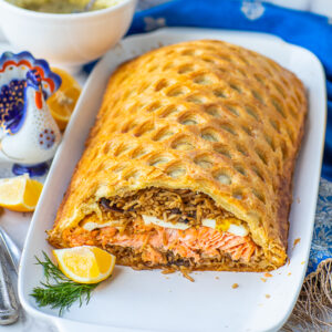 traditional Russian salmon coulibiac recipe