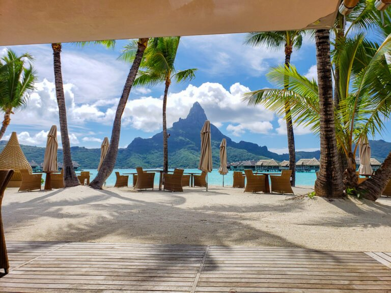 view from the Sands restaurant in Bora Bora