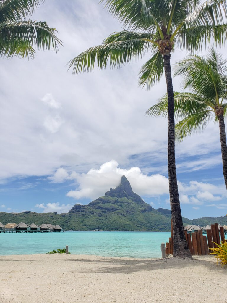 view of Mt. Otemanu in Bora Bora from the beach